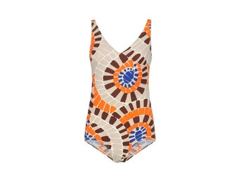 Optical 70s Vintage Woman's Swimsuit-  70s Vintage Beachwear - Woman's Vintage Bodysuit