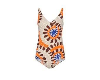 Optical 70s Vintage Woman's Swimsuit-  70s Vintage Beachwear - Woman's Vintage Bodysuit