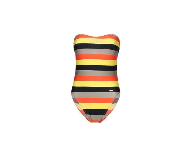 Pierre Cardin Vintage Woman's Swimsuit-  Striped Vintage Beachwear - Pierre Cardin Womans Vintage Bodysuit