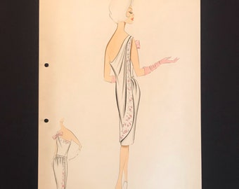 BALMAIN Vintage Fashion Croquis from 70s - 70s Hand-made and hand-painted Fashion Drawing BALMAIN