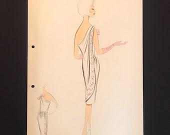 BALMAIN Vintage Fashion Croquis from 70s - 70s Hand-made and hand-painted Fashion Drawing BALMAIN