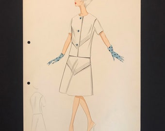 BALMAIN Fashion Croquis from 60s - 60s Hand-made and hand-painted Fashion Drawing
