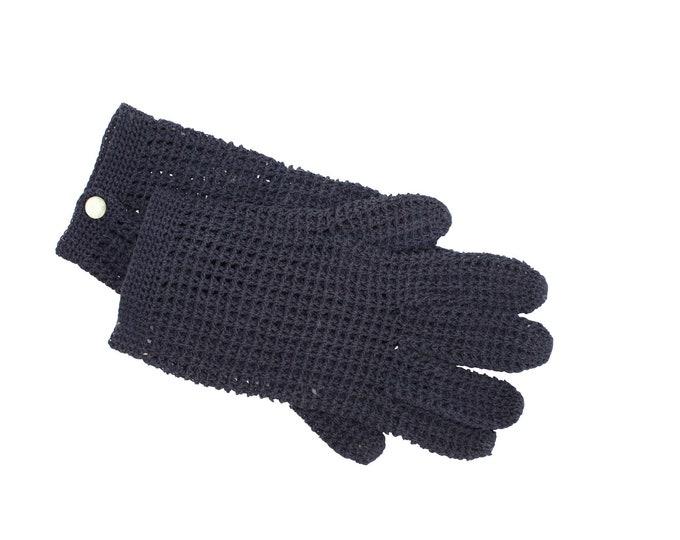 Woman Vintage Crochet Lace BLUE Gloves - Cotton Vintage Gloves For Her