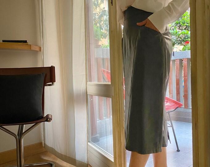 Vintage High-Waist Leather Skirt - Vintage Leather Midi Skirt