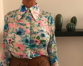 70's Vintage Woman's Shirt - Vintage Jersey Shirt - Woman Vintage Shirt