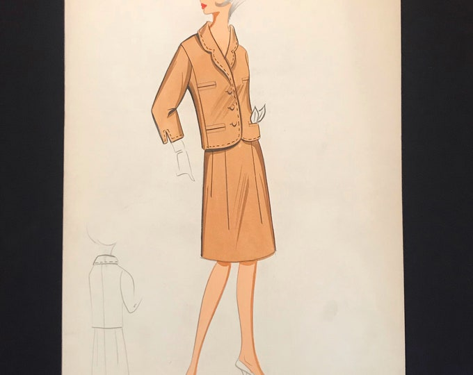 Dior Fashion Croquis from 60s - 60s Hand-made and hand-painted Dior Fashion Drawing