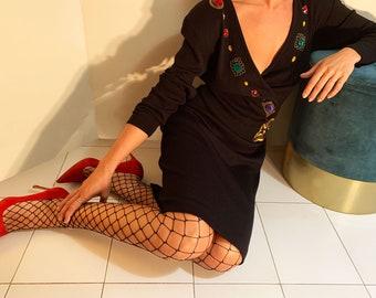 80s Vintage Wool Dress - Black Vintage Midi Gown Dress -