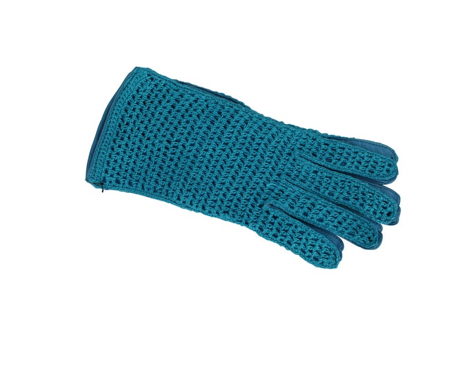 Turquoise Woman Vintage Gloves in Leather and Crochet Lace - Vintage Gloves For Her Made In Italy by MAZZOLENI