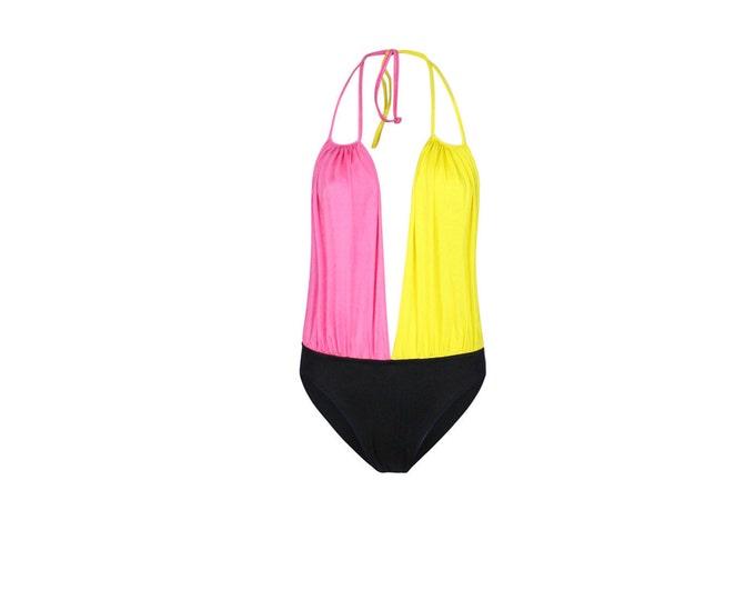 Vintage Fendi Swimsuit - Black Yellow Pink