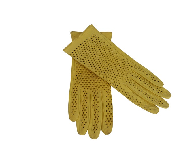 Yellow Leather Woman Vintage Gloves - Vintage Leather Gloves For Her