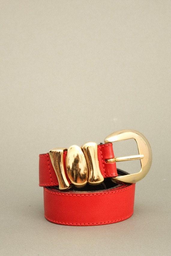 Vintage Furla Red Belt - 90s Vintage Leather Belt