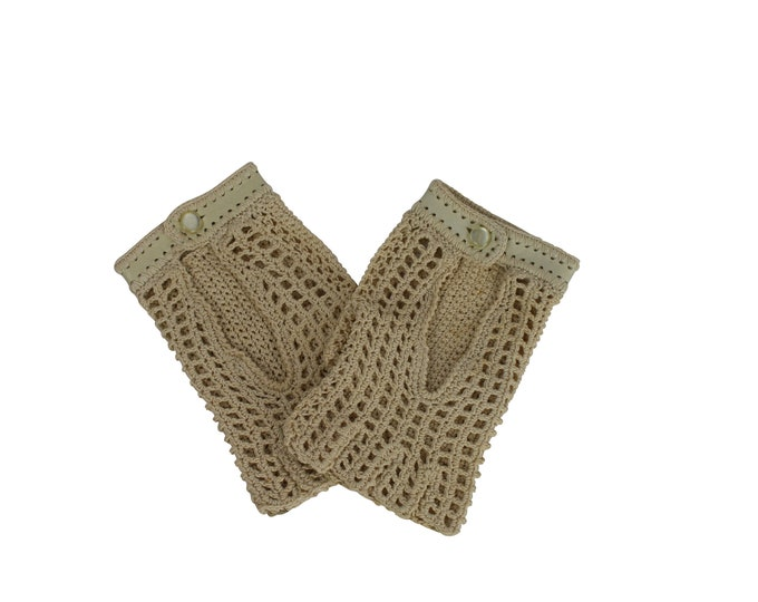 Vintage Half-fingers Gloves in Leather and Crochet Lace - Half-fingers Vintage Gloves For Her