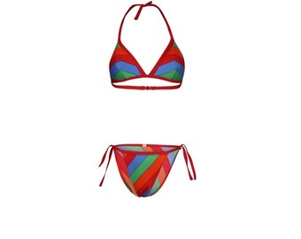 Chevron Striped Vintage Bikini - Vintage Bikini - Vintage Swimwear