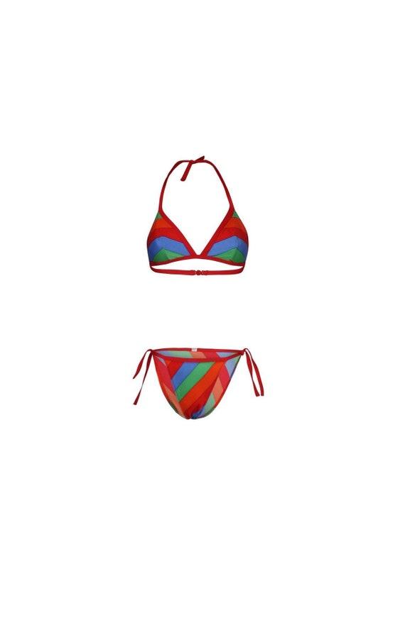 Chevron Striped Vintage Bikini - Vintage Bikini -