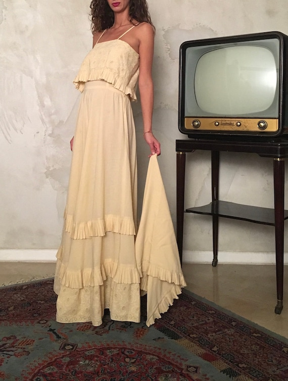 Romantic Vintage Maxi Dress - Woman Ivory Slip Lon