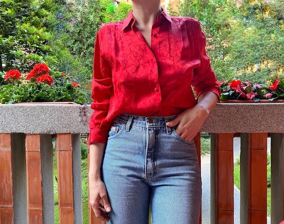 Vintage Red Silk Shirt - 80's Vintage Woman's Shir