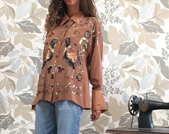 Vintage Silk Embroidered Woman Shirt - Vintage Roberta Da Camerino Silk Shirt
