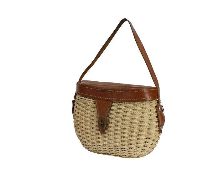 Vintage Woman's Bag - Vintage Straw & Leather Handbag