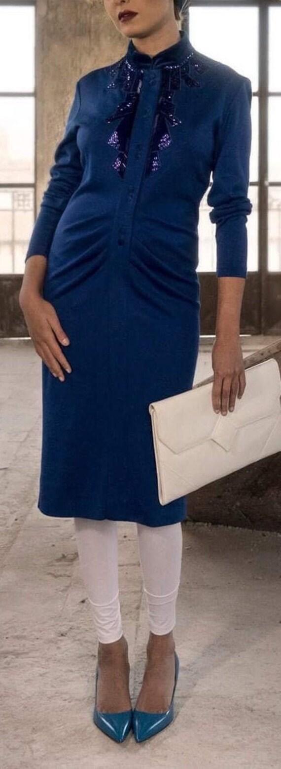 Velvet Embroidery Vintage Dress - Cobalt Blue Midi