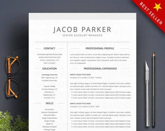 Resume Template Word 3 Page Professional Cv Cover Letter Etsy