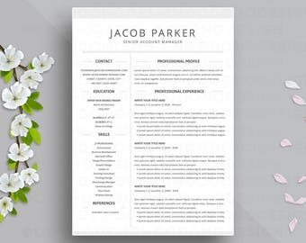 two column resume etsy