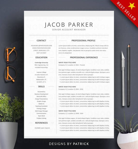 Pack De 8 Cv Templates Resume Template Word 3 Page Etsy