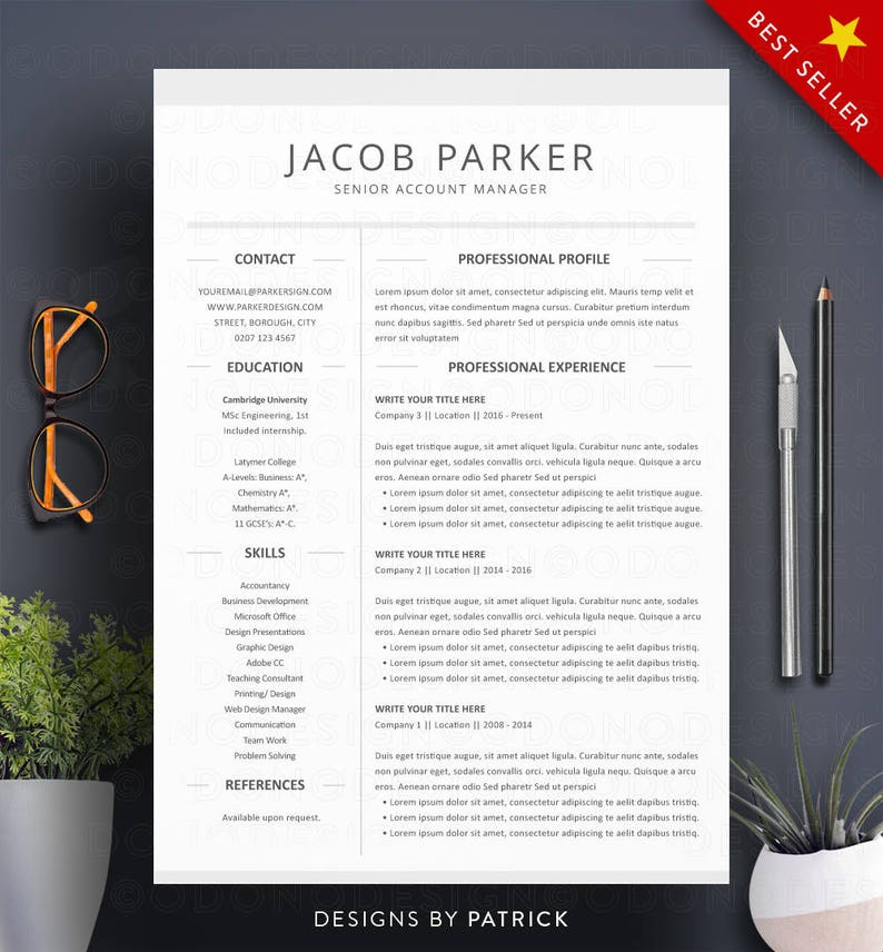 Resume Template Word 3 Page Professional CV Cover Letter
