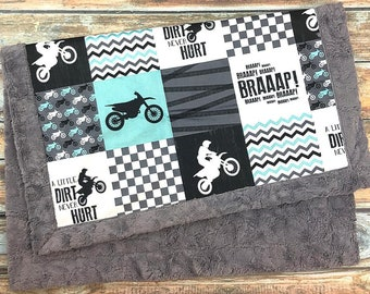 Motocross Minky Blanket - Designer Minky - Faux Patchwork - Motorcycle Blanket - Dirt Bike Blanket - Motocross Baby Blanket - Motocross Baby