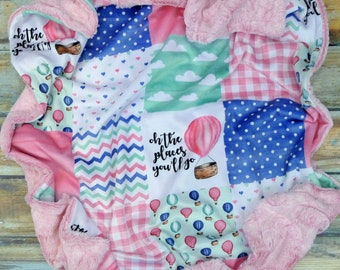 Oh the Places You'll Go Baby Blanket - Faux Quilt - Minky Baby Blanket - Hot Air Balloon Minky Baby Blanket - Seuss Baby Blanket - Baby Gift