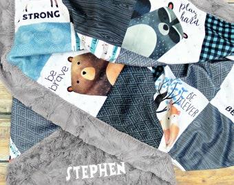 Personalized Woodland Nursery Baby Blanket - Faux Quilt - Baby Blanket - Minky Baby Blanket - Baby Blanket Boy - Baby Blankets - Baby Gift