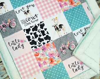 Farm Minky Blanket - Farm Blanket - Tractor Blanket - Faux Quilt - Minky Baby blanket - Pink Farm Baby Blanket - Girl Tractor Blanket