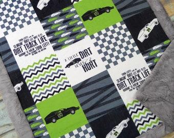 Personalized Race Car Blanket - Boy Minky Blanket - Name Blanket - Faux Patchwork - Dirt Track Blanket - Racing Blanket - Boy Baby Blanket