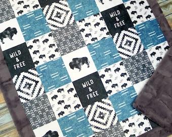 Personalized Minky Baby Blanket - Personalized Watercolor Buffalo Bison Baby Blanket Nursery Decor