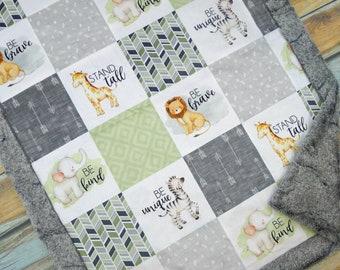 Personalized Baby Blanket -  Safari Baby  Blanket - Safari Nursery Decor - Jungle Nursery Decor - Gender Neutral Baby Blanket - Name Blanket