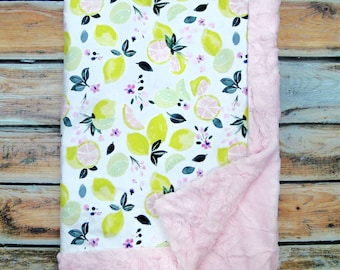 Embroidered Blanket - Lemons Baby Blanket - Baby Girl Blanket - Minky Blanket - Citrus Baby Blanket Baby Gift - Personalized Baby Blanket