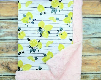 Baby Girl Blankets - Personalized Baby Blanket - Baby Girl - Citrus Blanket - Lemon Baby - Minky Blanket - Baby Shower Gift - Embroidered