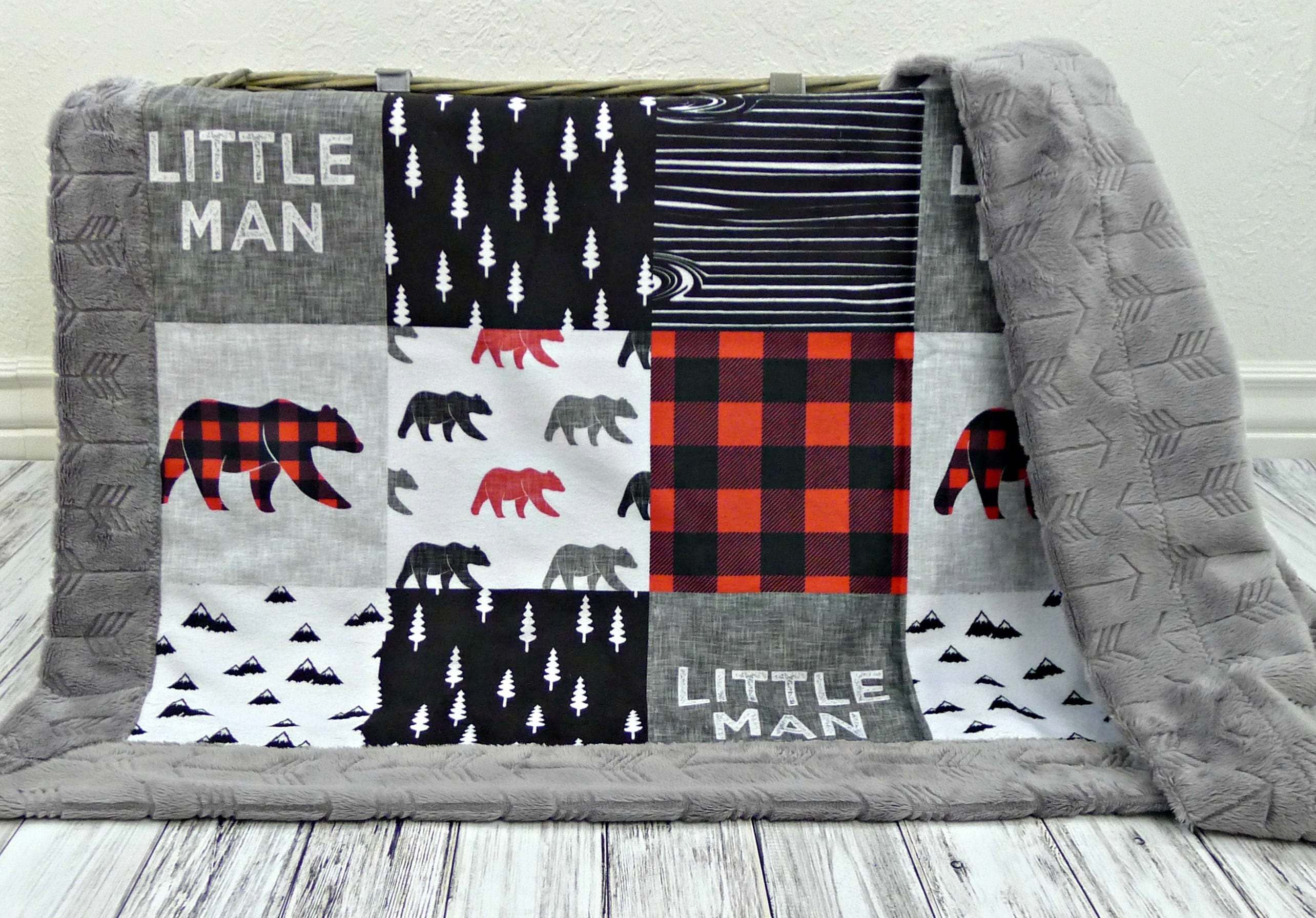 Plaid Baby Quilt: Buffalo Plaid Minky Baby Blanket Buffalo Plaid Blanket