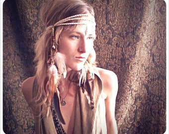 hawk tribe. a warrior feathered headdress. 'made to order'