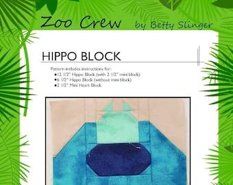 Hippo Quilt Block / Digital Download / PDF Pattern