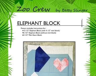 Elephant Quilt Block / Digital Download / PDF Pattern