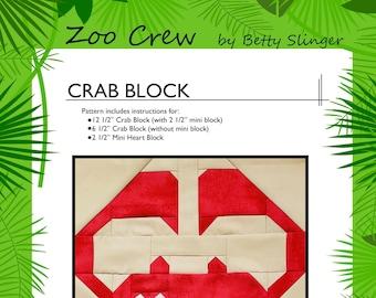 Crab Quilt Block / Digital Download / PDF Pattern
