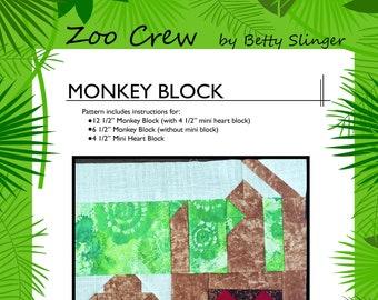 Monkey Quilt Block / Digital Download / PDF Pattern