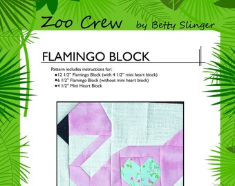 Flamingo Quilt Block / Digital Download / PDF Pattern