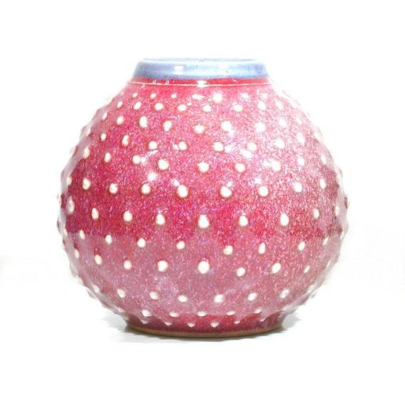 Mid Century Flower Urn Modern Red Vase Polka Dot Vessel Etsy
