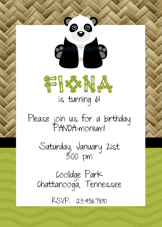 panda birthday invitation | Etsy