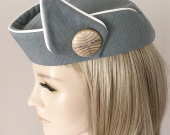 a33deb360d1 Custom Made Reproduction PAN AM STEWARDESS Hat - Flight Attendant - Cosplay  - Costume - Airport - Uniform