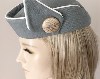 12b83fddff5 Custom Made Reproduction PAN AM STEWARDESS Hat - Flight Attendant - Cosplay  - Costume - Airport - Uniform