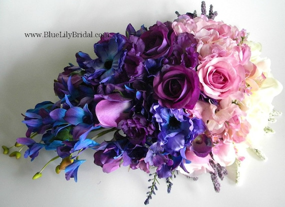 Ivory Orchid Pink Purple And Violet Blue Ombre Shaded Etsy