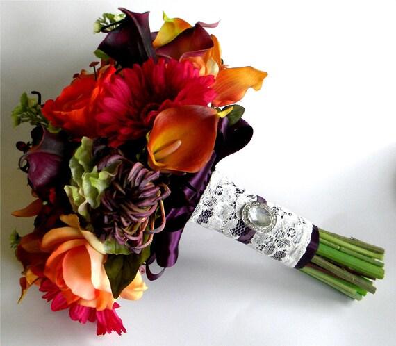 The Rachel Bouquet Real Touch Wedding Flowers In Orange