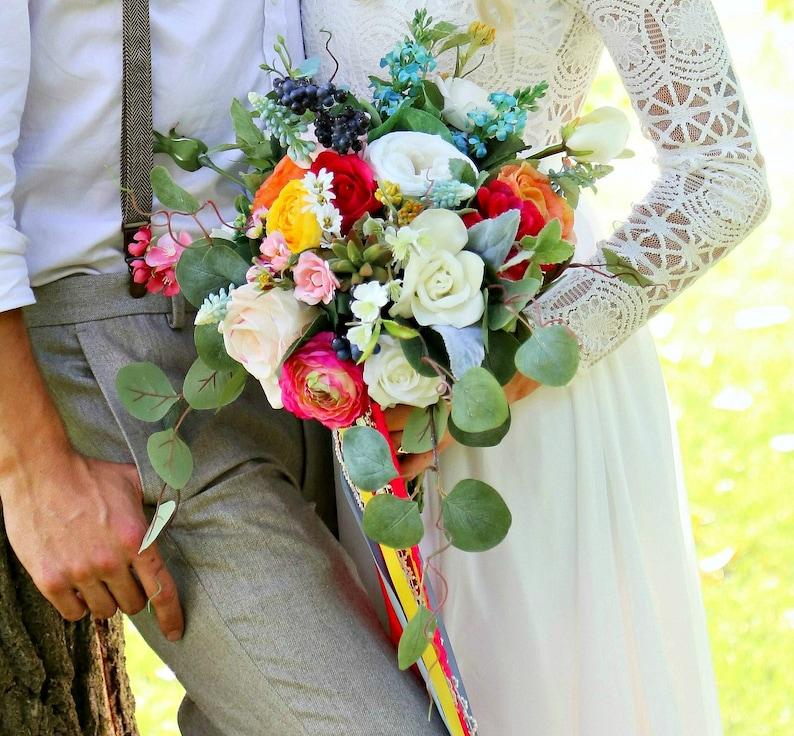 Bright Boho Style Bridal Bouquet  Boho Wedding Bouquet  image 0